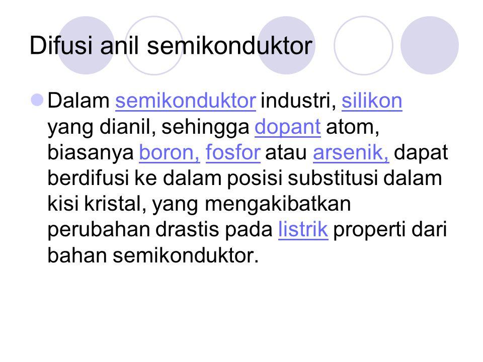 Difusi anil semikonduktor Dalam semikonduktor industri, silikon yang dianil, sehingga dopant atom, biasanya boron, fosfor atau arsenik, dapat berdifus