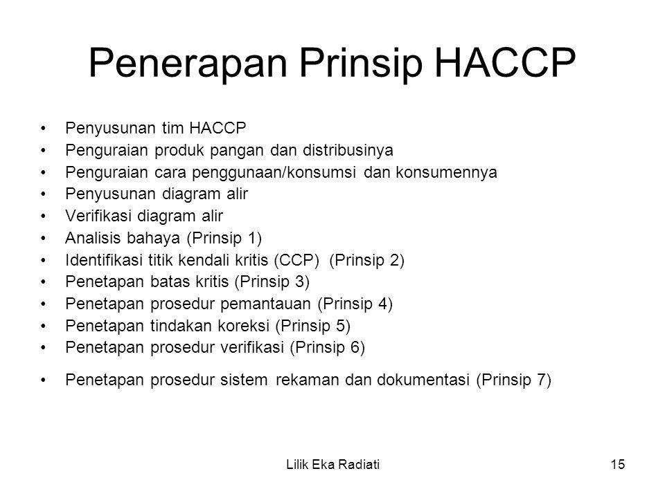Penerapan Prinsip HACCP Penyusunan tim HACCP Penguraian produk pangan dan distribusinya Penguraian cara penggunaan/konsumsi dan konsumennya Penyusunan