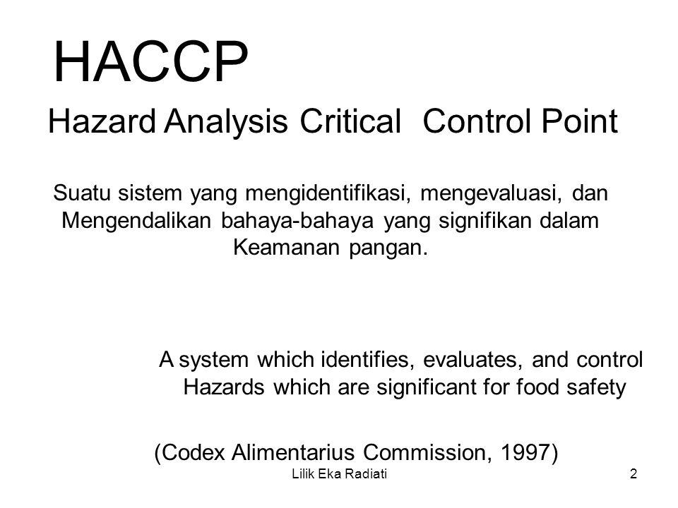 HACCP Hazard Analysis Critical Control Point Suatu sistem yang mengidentifikasi, mengevaluasi, dan Mengendalikan bahaya-bahaya yang signifikan dalam K