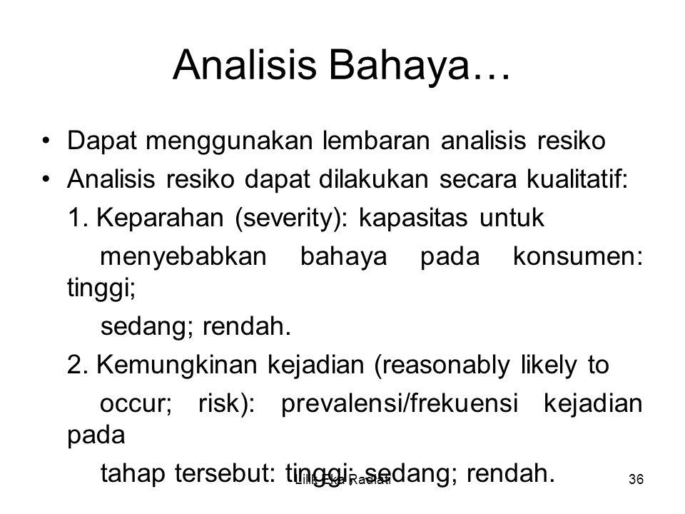 Analisis Bahaya… Dapat menggunakan lembaran analisis resiko Analisis resiko dapat dilakukan secara kualitatif: 1. Keparahan (severity): kapasitas untu