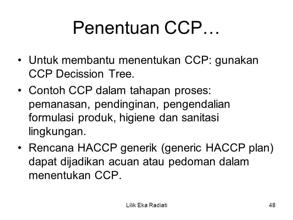 Penentuan CCP… Untuk membantu menentukan CCP: gunakan CCP Decission Tree. Contoh CCP dalam tahapan proses: pemanasan, pendinginan, pengendalian formul