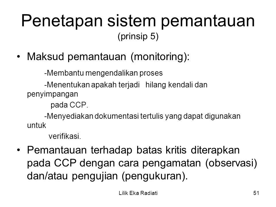 Penetapan sistem pemantauan (prinsip 5) Maksud pemantauan (monitoring): -Membantu mengendalikan proses -Menentukan apakah terjadi hilang kendali dan p