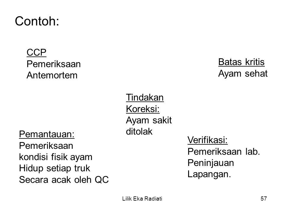Contoh: CCP Pemeriksaan Antemortem Batas kritis Ayam sehat Pemantauan: Pemeriksaan kondisi fisik ayam Hidup setiap truk Secara acak oleh QC Tindakan K