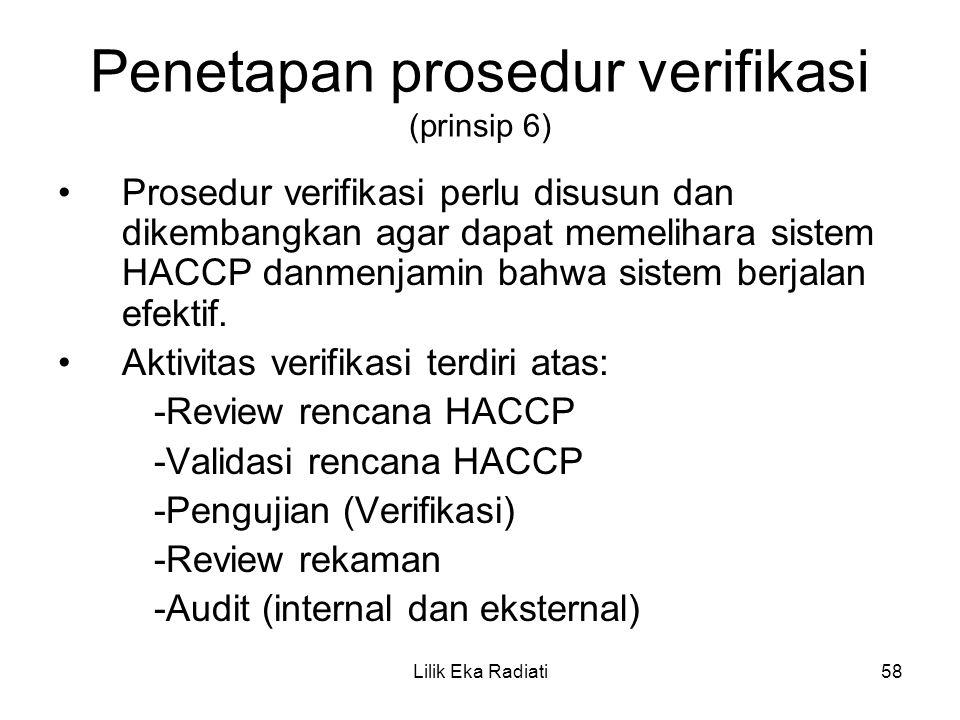 Penetapan prosedur verifikasi (prinsip 6) Prosedur verifikasi perlu disusun dan dikembangkan agar dapat memelihara sistem HACCP danmenjamin bahwa sist
