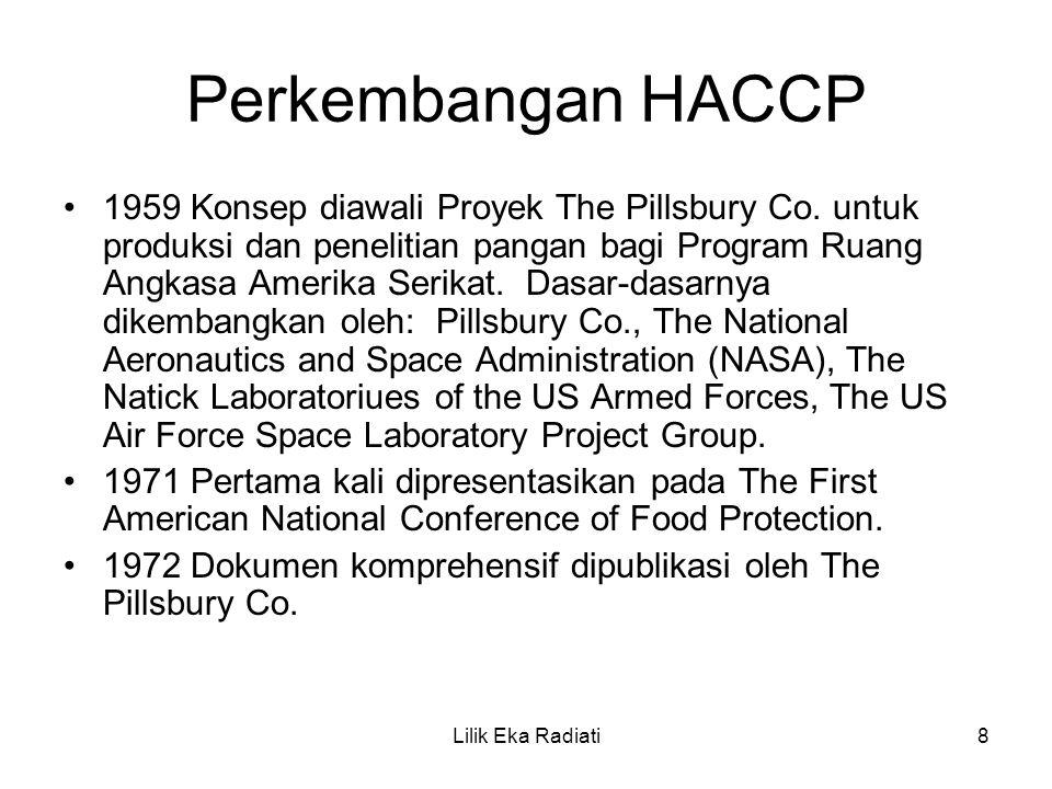 Perkembangan HACCP 1959 Konsep diawali Proyek The Pillsbury Co. untuk produksi dan penelitian pangan bagi Program Ruang Angkasa Amerika Serikat. Dasar