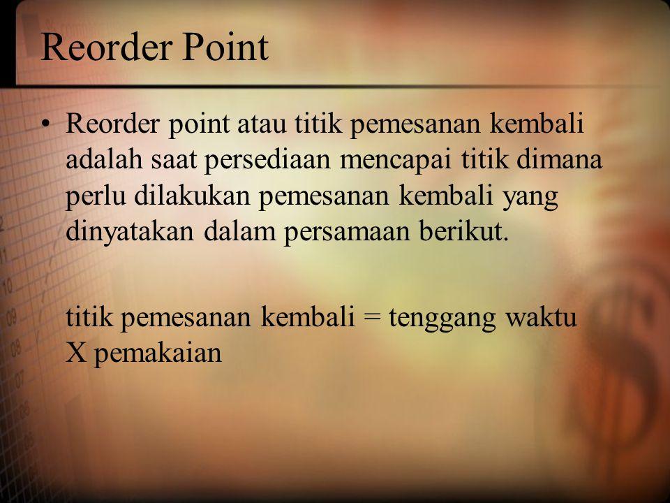 Reorder Point Reorder point atau titik pemesanan kembali adalah saat persediaan mencapai titik dimana perlu dilakukan pemesanan kembali yang dinyataka