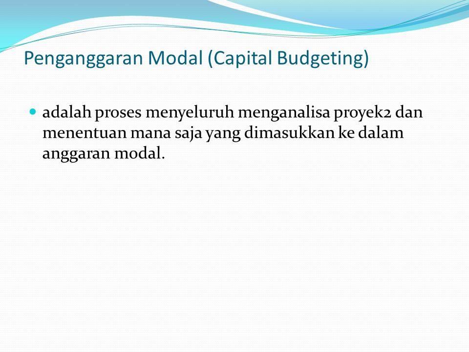 Penganggaran Modal (Capital Budgeting) adalah proses menyeluruh menganalisa proyek2 dan menentuan mana saja yang dimasukkan ke dalam anggaran modal.