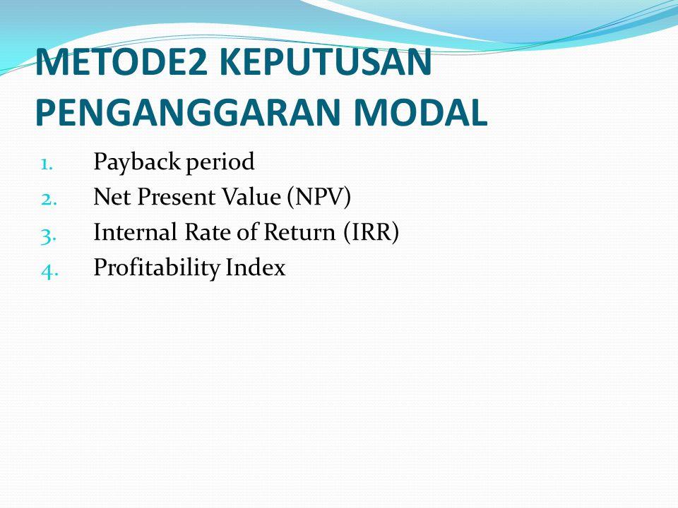 METODE2 KEPUTUSAN PENGANGGARAN MODAL 1.Payback period 2.