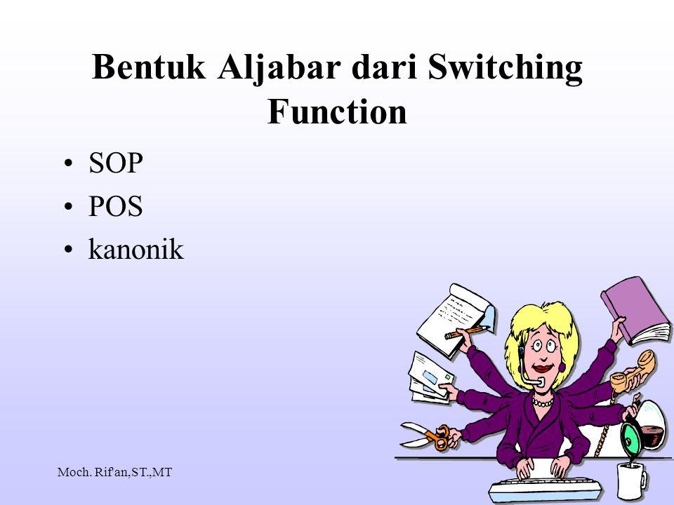 Moch. Rif an,ST.,MT Bentuk Aljabar dari Switching Function SOP POS kanonik