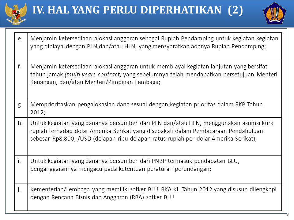 8 e.Menjamin ketersediaan alokasi anggaran sebagai Rupiah Pendamping untuk kegiatan-kegiatan yang dibiayai dengan PLN dan/atau HLN, yang mensyaratkan