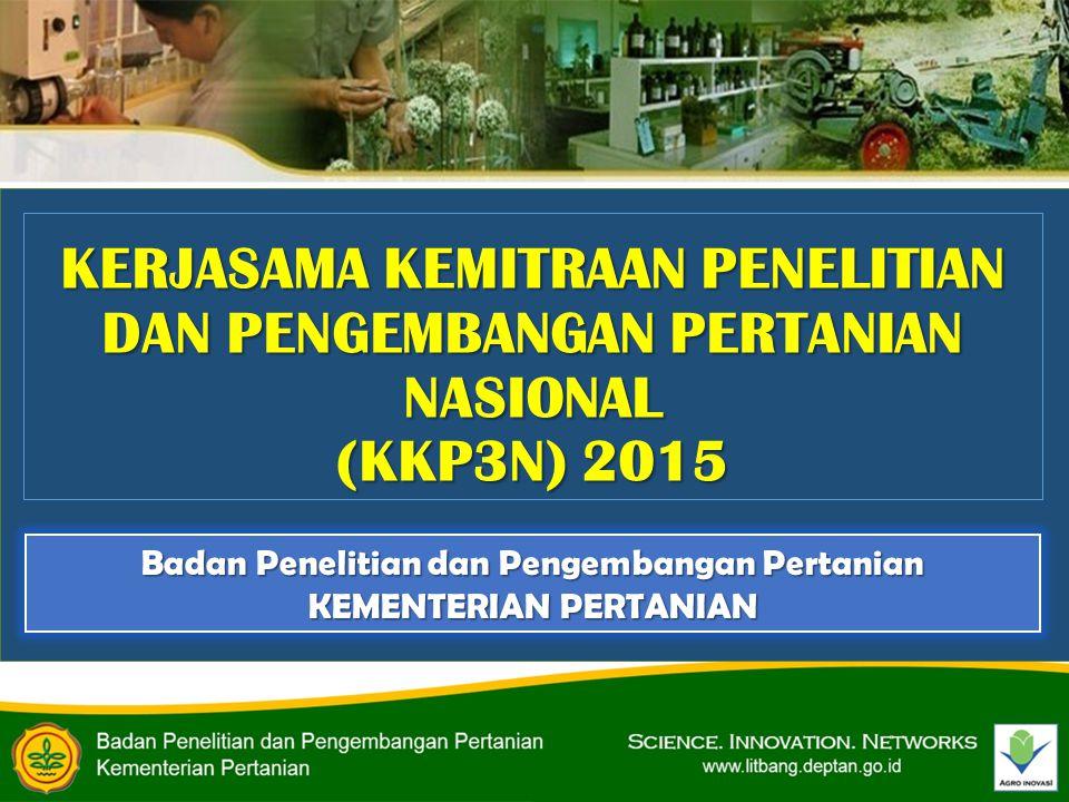 KERJASAMA KEMITRAAN PENELITIAN DAN PENGEMBANGAN PERTANIAN NASIONAL (KKP3N) 2015 Badan Penelitian dan Pengembangan Pertanian KEMENTERIAN PERTANIAN