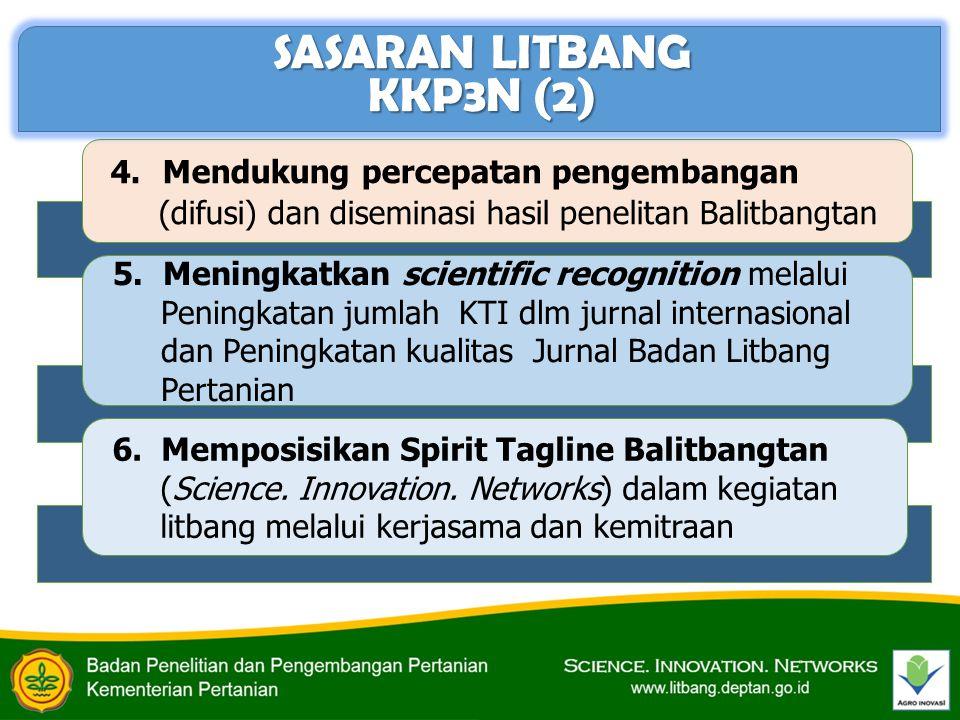4. Mendukung percepatan pengembangan (difusi) dan diseminasi hasil penelitan Balitbangtan 5. Meningkatkan scientific recognition melalui Peningkatan j