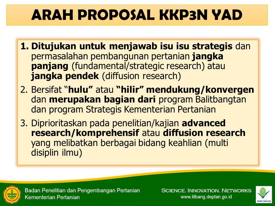 1.Ditujukan untuk menjawab isu isu strategis dan permasalahan pembangunan pertanian jangka panjang (fundamental/strategic research) atau jangka pendek
