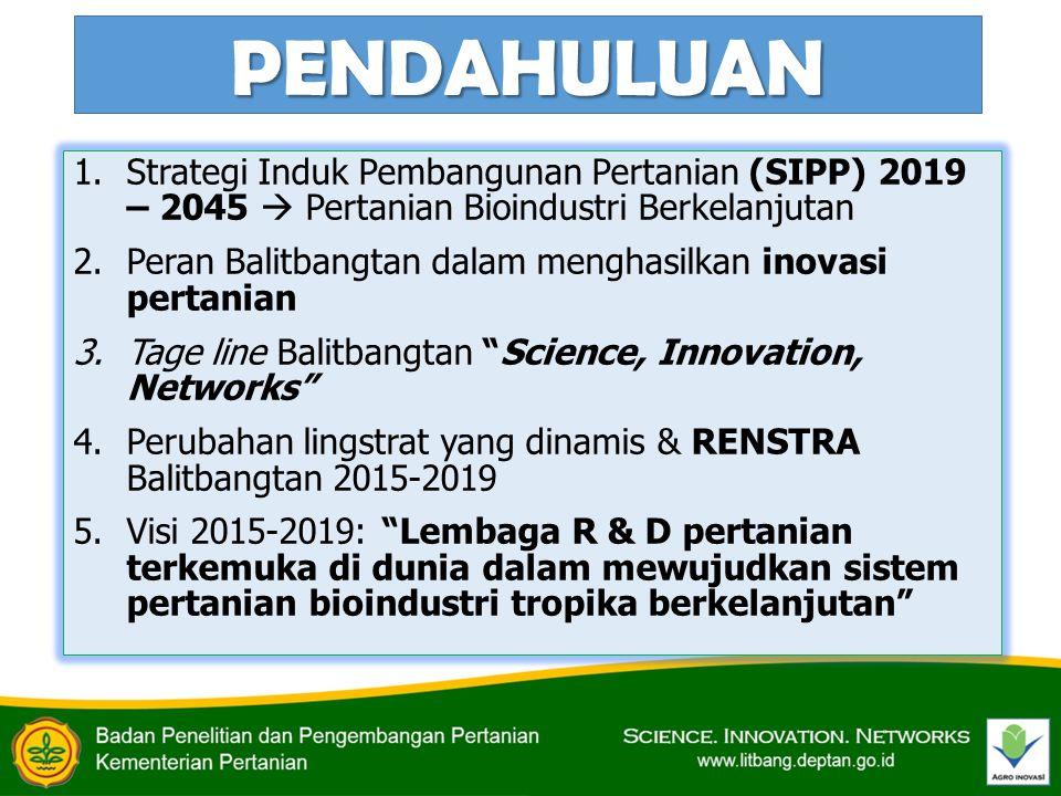 PENDAHULUAN (2) 6.Beragamnya kapasitas sumberdaya penelitian lingkup Balitbangtan 7.Pentingnya keterpaduan dan optimalisasi pemanfaatan sumberdaya penelitian (nasional) dalam menghasilkan invensi-invensi inovatif Perlunya Kerjasama Kemitraan (networking) dalam menghasilkan invensi-invensi yang inovatif (science and innovation) mendukung pembangunan pertanian