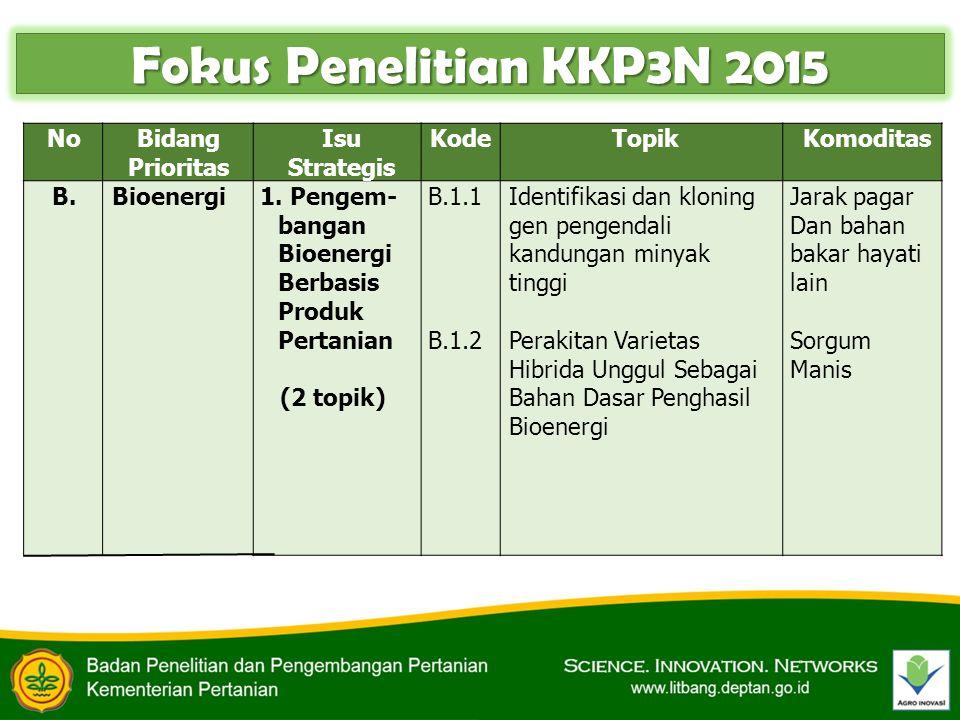 NoBidang Prioritas Isu Strategis Kode TopikKomoditas B.Bioenergi1. Pengem- bangan Bioenergi Berbasis Produk Pertanian (2 topik) B.1.1 B.1.2 Identifika