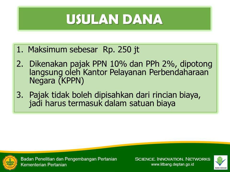 USULAN DANA 1.Maksimum sebesar Rp. 250 jt 2.Dikenakan pajak PPN 10% dan PPh 2%, dipotong langsung oleh Kantor Pelayanan Perbendaharaan Negara (KPPN) 3