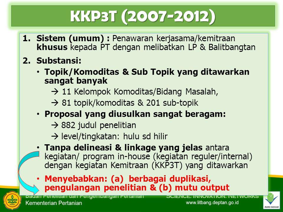 KKP3T (2007-2012) 1.Sistem (umum) : Penawaran kerjasama/kemitraan khusus kepada PT dengan melibatkan LP & Balitbangtan 2.Substansi: Topik/Komoditas &