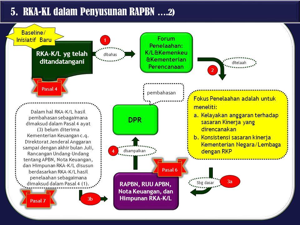 5. RKA-KL dalam Penyusunan RAPBN ….2) RKA-K/L yg telah ditandatangani Forum Penelaahan: K/L&Kemenkeu &Kementerian Perencanaan Fokus Penelaahan adalah
