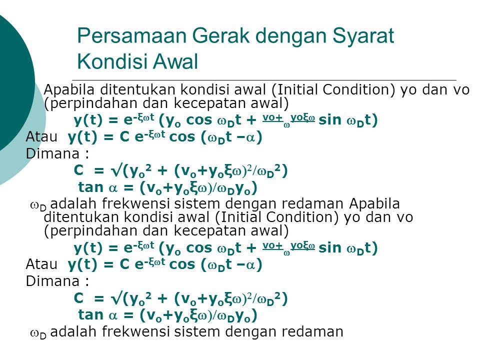 Persamaan Gerak dengan Syarat Kondisi Awal  Apabila ditentukan kondisi awal (Initial Condition) yo dan vo (perpindahan dan kecepatan awal) y(t) = e -ξt (y o cos  D t + vo+  yoξ sin  D t) Atau y(t) = C e -ξt cos ( D t –) Dimana : C = √(y o 2 + (v o +y o ξ   D 2 ) tan  = (v o +y o ξ D y o )  D adalah frekwensi sistem dengan redaman Apabila ditentukan kondisi awal (Initial Condition) yo dan vo (perpindahan dan kecepatan awal) y(t) = e -ξt (y o cos  D t + vo+  yoξ sin  D t) Atau y(t) = C e -ξt cos ( D t –) Dimana : C = √(y o 2 + (v o +y o ξ   D 2 ) tan  = (v o +y o ξ D y o )  D adalah frekwensi sistem dengan redaman
