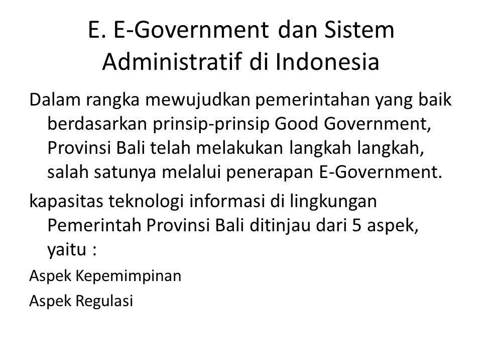 E. E-Government dan Sistem Administratif di Indonesia Dalam rangka mewujudkan pemerintahan yang baik berdasarkan prinsip-prinsip Good Government, Prov