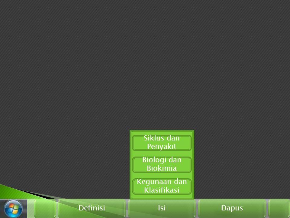 Definisi Isi Dapus Biologi dan Biokimia Kegunaan dan Klasifikasi Siklus dan Penyakit
