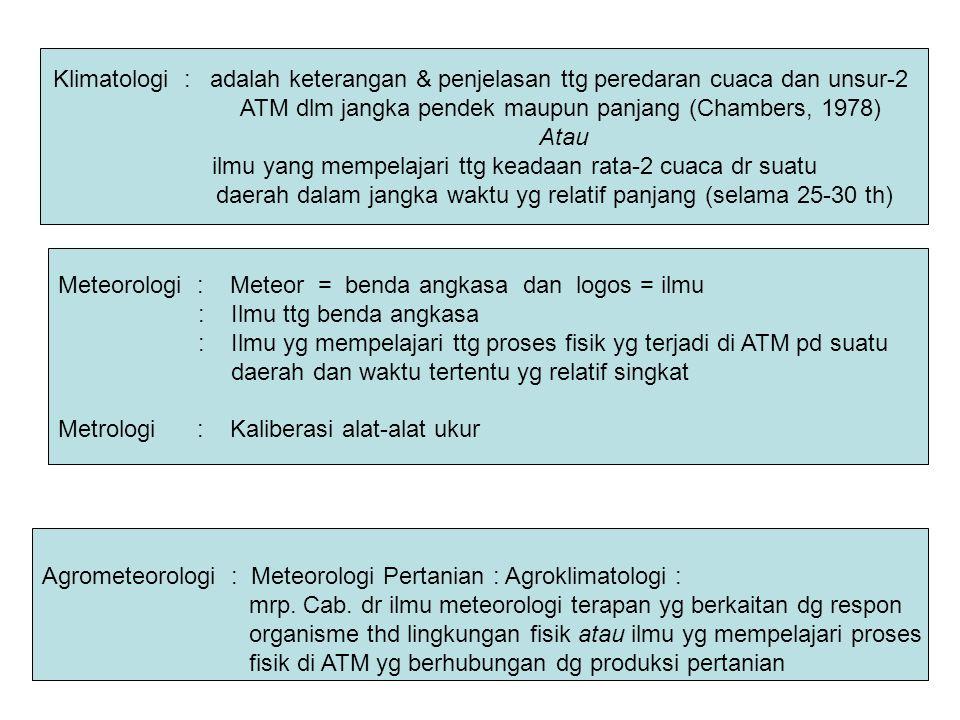 Meteorologi : Meteor = benda angkasa dan logos = ilmu : Ilmu ttg benda angkasa : Ilmu yg mempelajari ttg proses fisik yg terjadi di ATM pd suatu daera