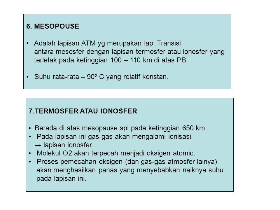 6. MESOPOUSE Adalah lapisan ATM yg merupakan lap. Transisi antara mesosfer dengan lapisan termosfer atau ionosfer yang terletak pada ketinggian 100 –