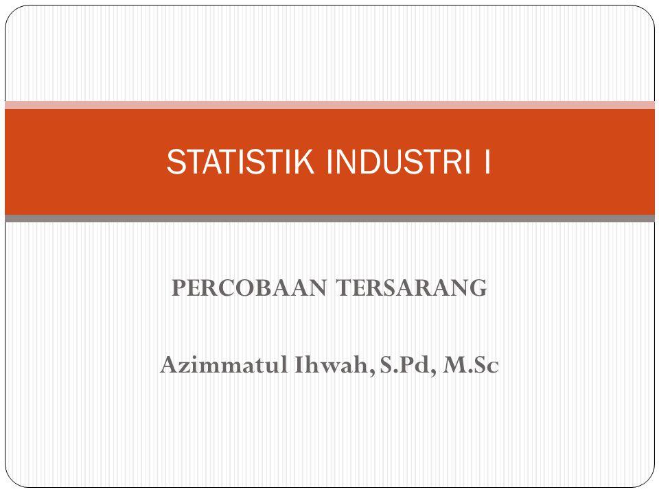 PERCOBAAN TERSARANG Azimmatul Ihwah, S.Pd, M.Sc STATISTIK INDUSTRI I