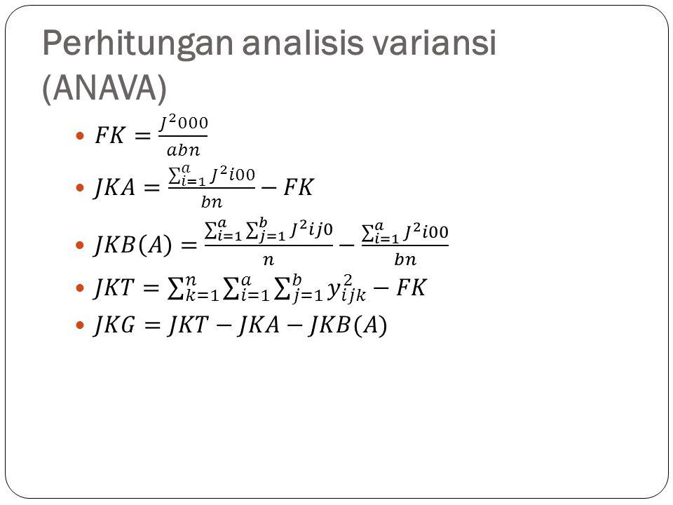Perhitungan-perhitungan untuk ANAVA percobaan tersarang sama seperti rancangan percobaan lainnya, penentuan ada atau tidaknya pengaruh atau faktor-faktor dilakukan dengan uji F.