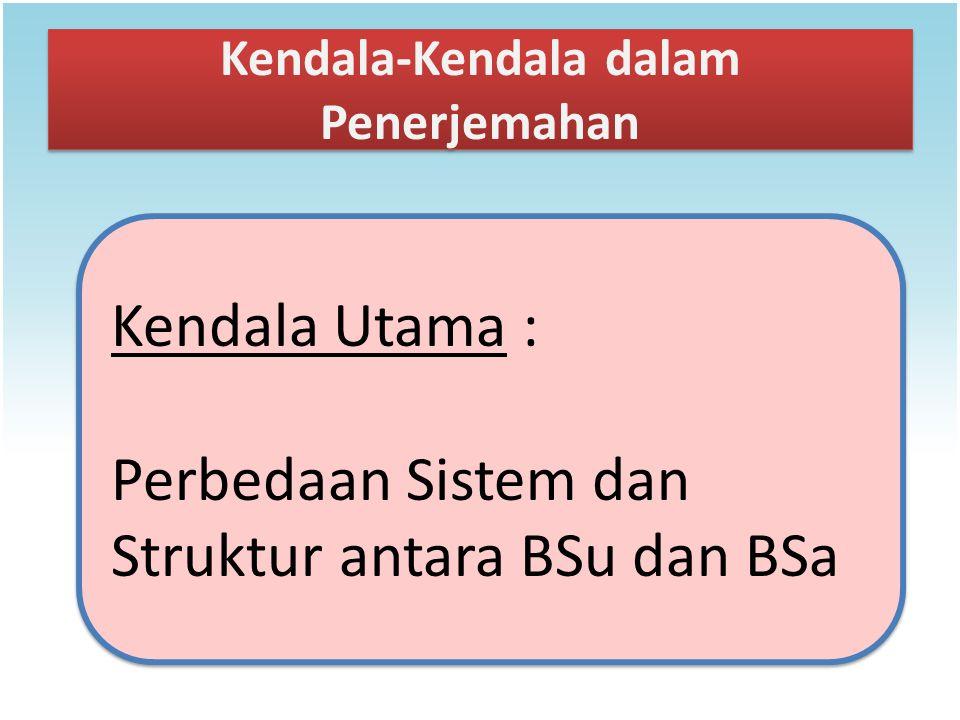 Kendala-Kendala dalam Penerjemahan Kendala Utama : Perbedaan Sistem dan Struktur antara BSu dan BSa Kendala Utama : Perbedaan Sistem dan Struktur anta
