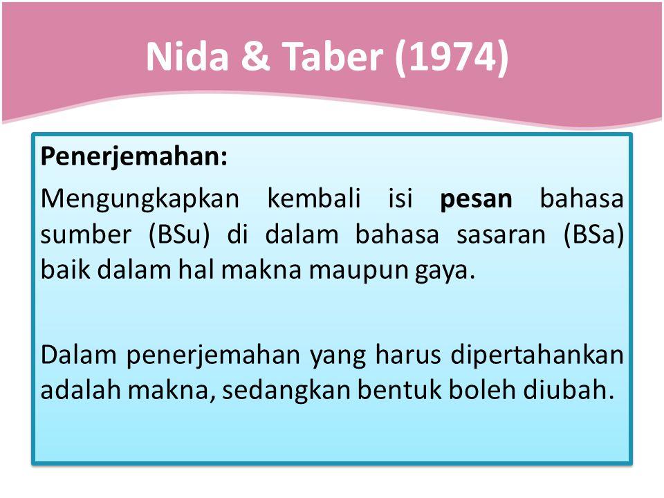 Nida & Taber (1974) Penerjemahan: Mengungkapkan kembali isi pesan bahasa sumber (BSu) di dalam bahasa sasaran (BSa) baik dalam hal makna maupun gaya.