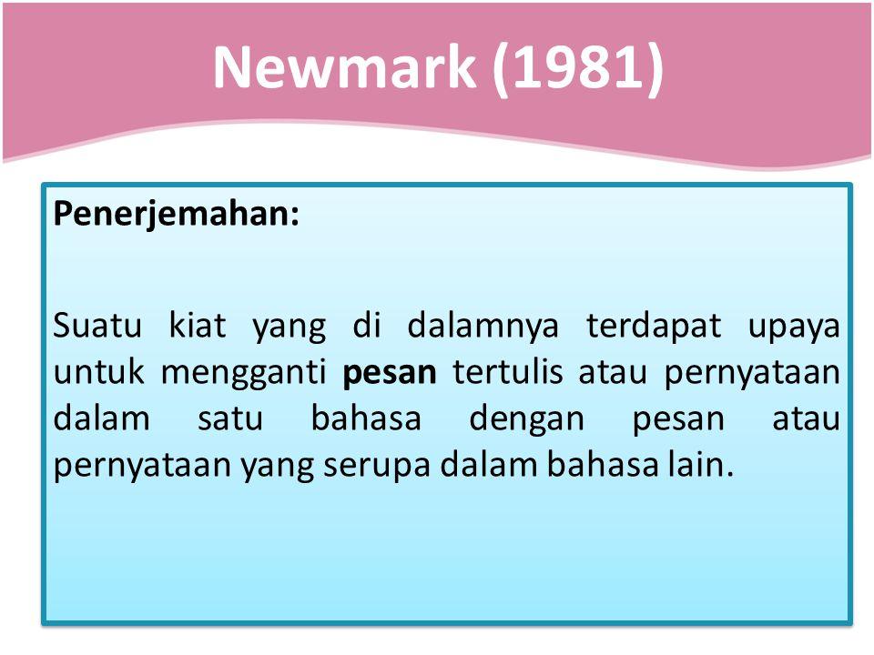 Newmark (1981) Penerjemahan: Suatu kiat yang di dalamnya terdapat upaya untuk mengganti pesan tertulis atau pernyataan dalam satu bahasa dengan pesan