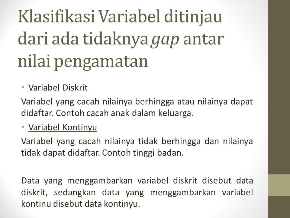 Klasifikasi Variabel ditinjau dari ada tidaknya gap antar nilai pengamatan Variabel Diskrit Variabel yang cacah nilainya berhingga atau nilainya dapat