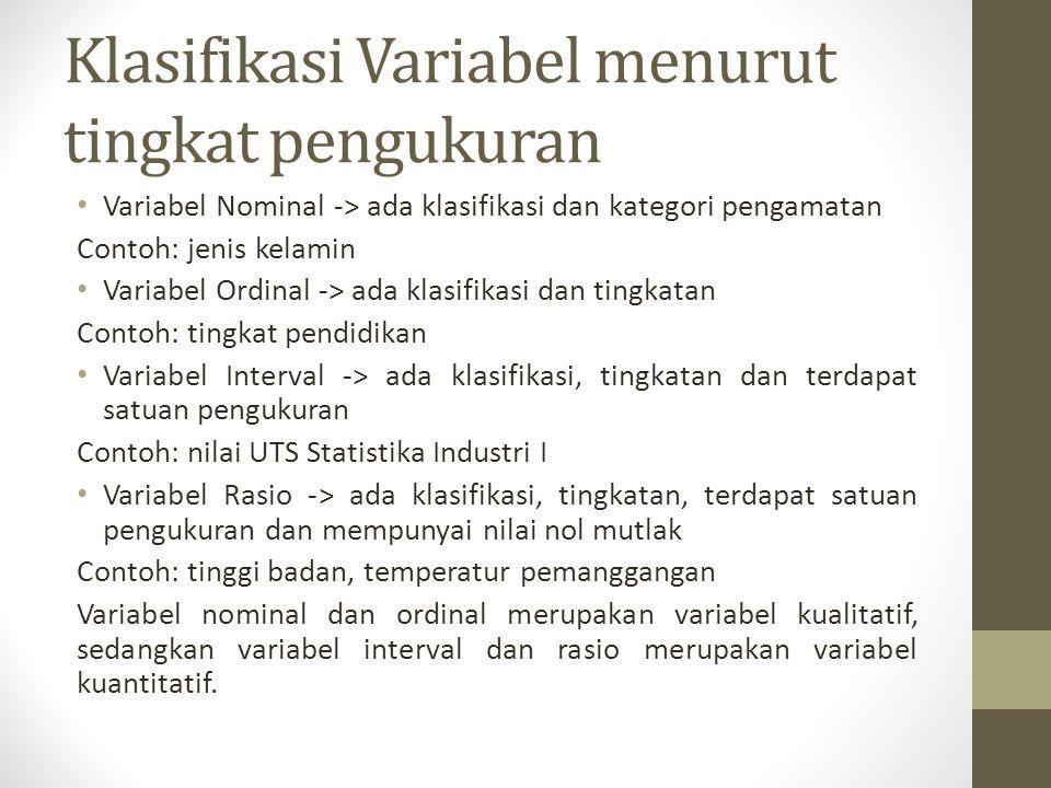 Klasifikasi Variabel menurut tingkat pengukuran Variabel Nominal -> ada klasifikasi dan kategori pengamatan Contoh: jenis kelamin Variabel Ordinal ->