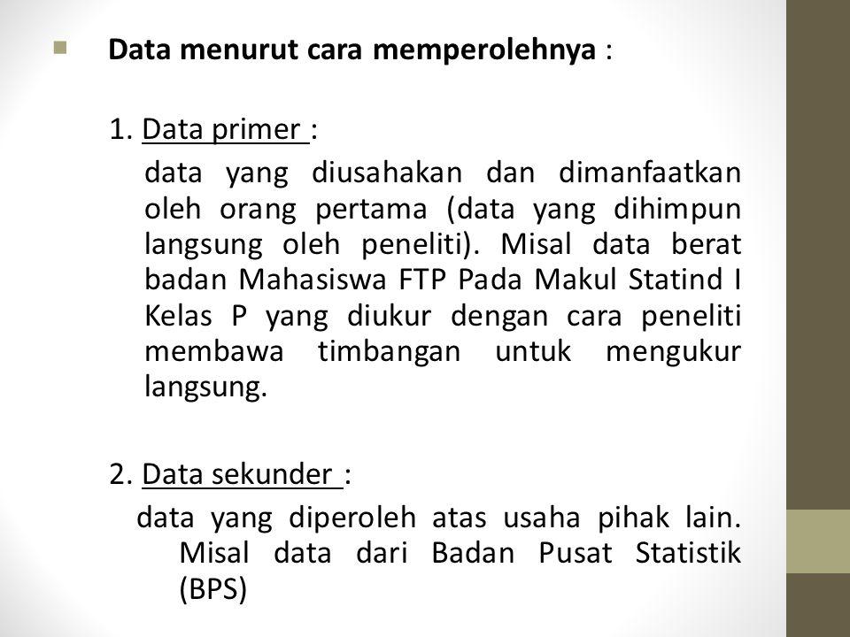 Pengelompokan Data (cont.)  Data menurut cara memperolehnya : 1. Data primer : data yang diusahakan dan dimanfaatkan oleh orang pertama (data yang di