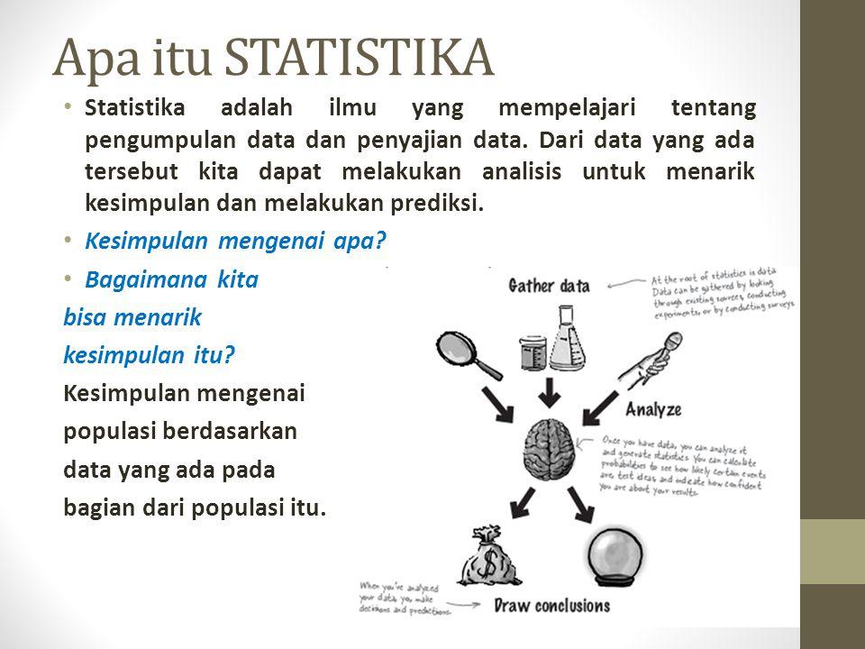 Apa itu STATISTIKA Statistika adalah ilmu yang mempelajari tentang pengumpulan data dan penyajian data. Dari data yang ada tersebut kita dapat melakuk