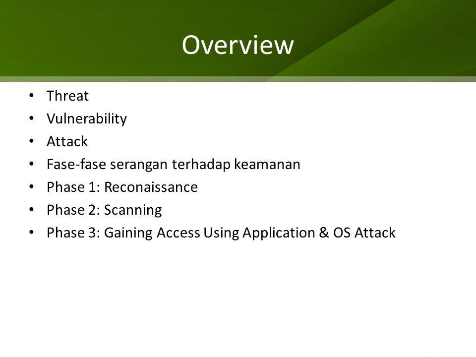 Overview Threat Vulnerability Attack Fase-fase serangan terhadap keamanan Phase 1: Reconaissance Phase 2: Scanning Phase 3: Gaining Access Using Appli