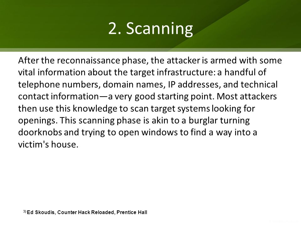 2. Scanning After the reconnaissance phase, the attacker is armed with some vital information about the target infrastructure: a handful of telephone
