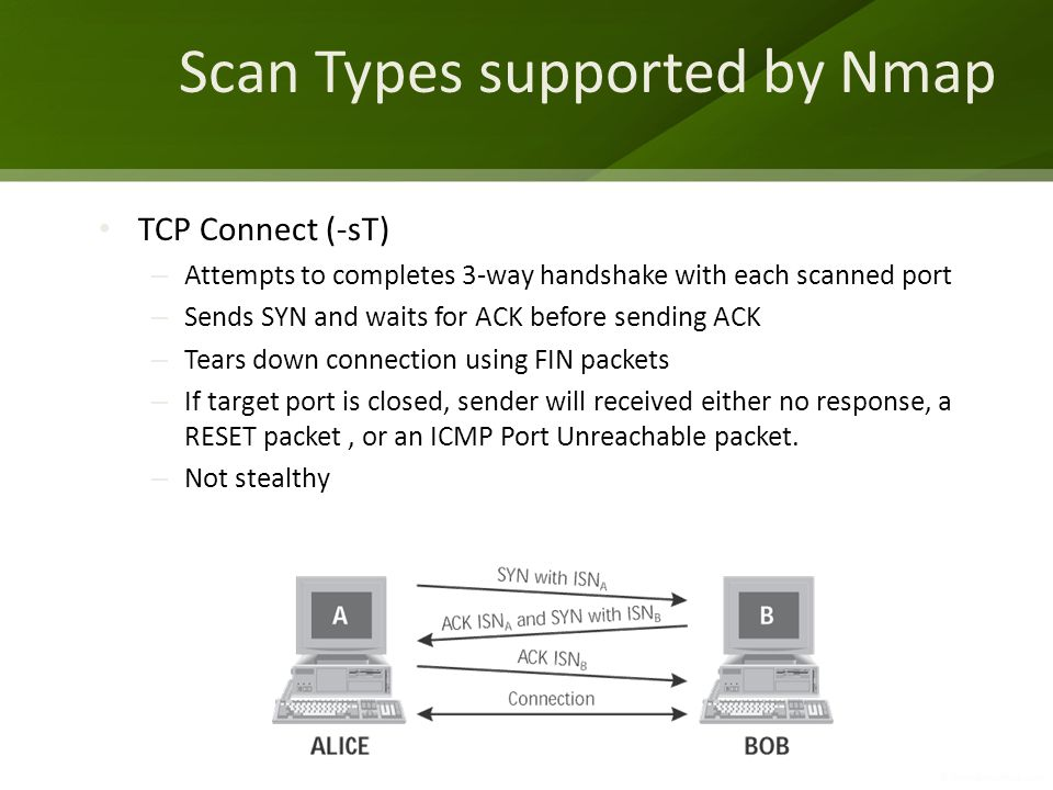 Scan Types supported by Nmap TCP Connect (-sT) – Attempts to completes 3-way handshake with each scanned port – Sends SYN and waits for ACK before sen
