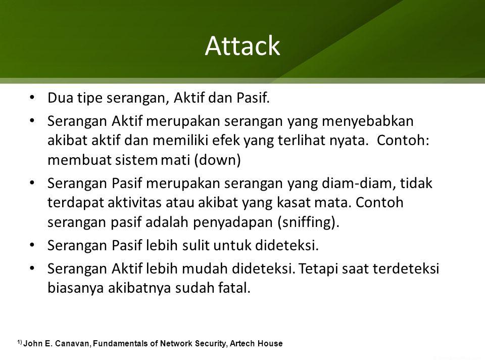 Attack Dua tipe serangan, Aktif dan Pasif. Serangan Aktif merupakan serangan yang menyebabkan akibat aktif dan memiliki efek yang terlihat nyata. Cont