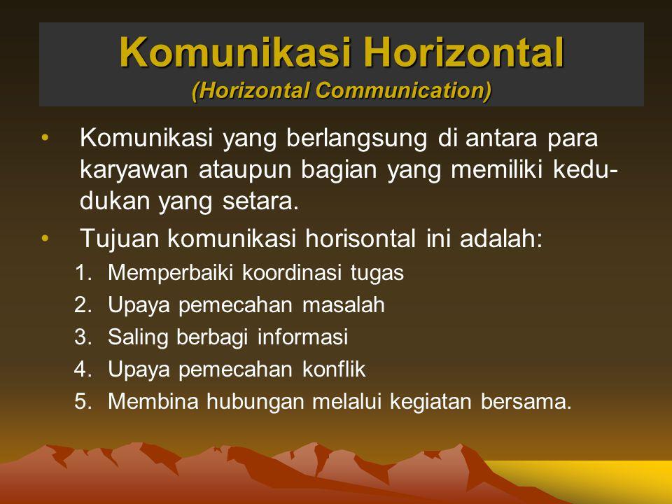 Komunikasi Horizontal (Horizontal Communication) Komunikasi yang berlangsung di antara para karyawan ataupun bagian yang memiliki kedu- dukan yang set