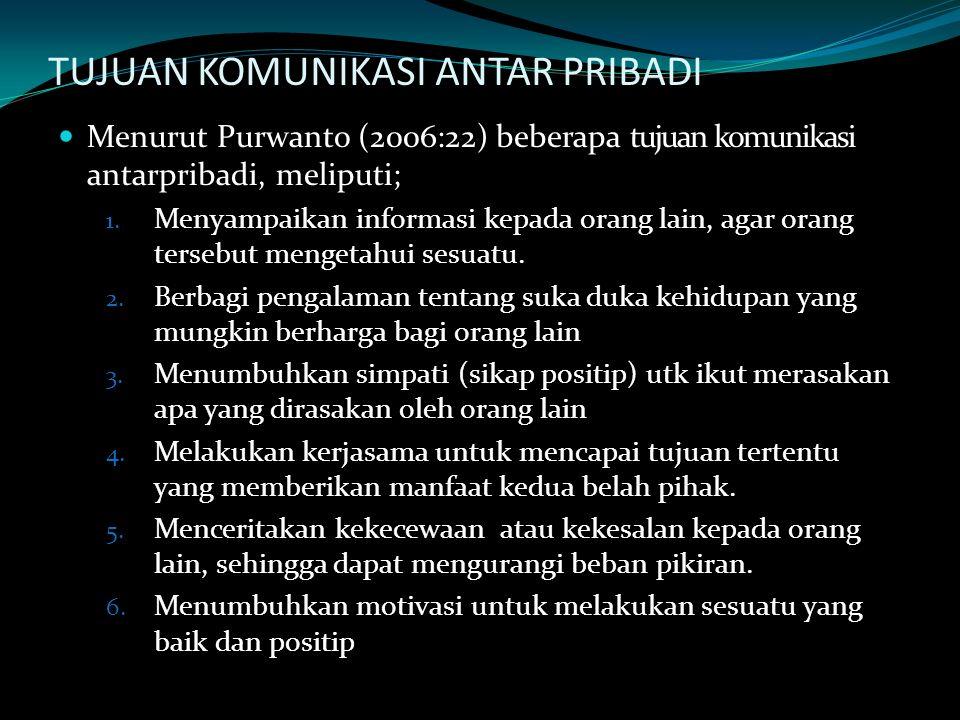TUJUAN KOMUNIKASI ANTAR PRIBADI Menurut Purwanto (2006:22) beberapa tujuan komunikasi antarpribadi, meliputi; 1. Menyampaikan informasi kepada orang l