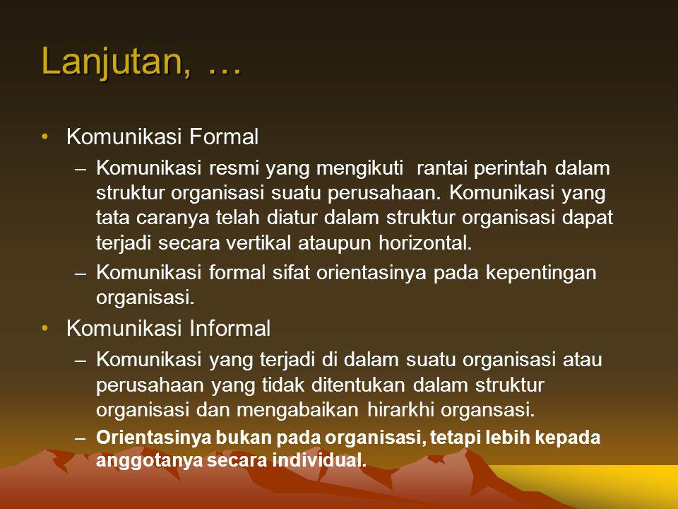 Lanjutan, … Komunikasi Formal –Komunikasi resmi yang mengikuti rantai perintah dalam struktur organisasi suatu perusahaan. Komunikasi yang tata carany