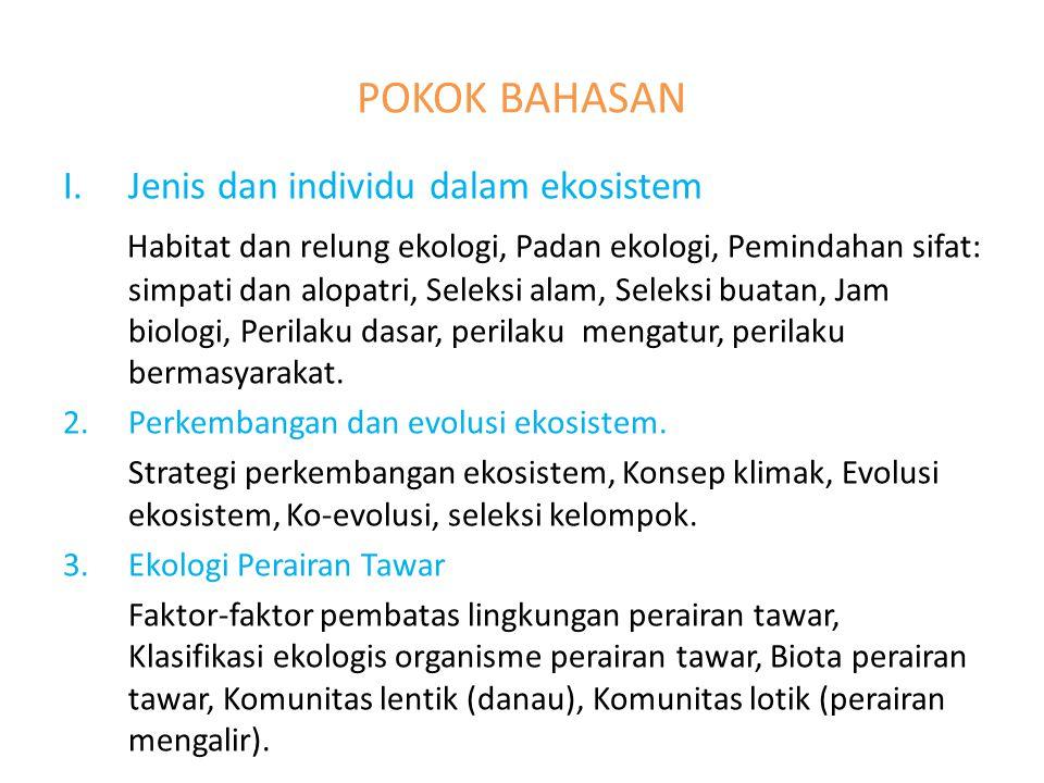 POKOK BAHASAN I.Jenis dan individu dalam ekosistem Habitat dan relung ekologi, Padan ekologi, Pemindahan sifat: simpati dan alopatri, Seleksi alam, Seleksi buatan, Jam biologi, Perilaku dasar, perilaku mengatur, perilaku bermasyarakat.