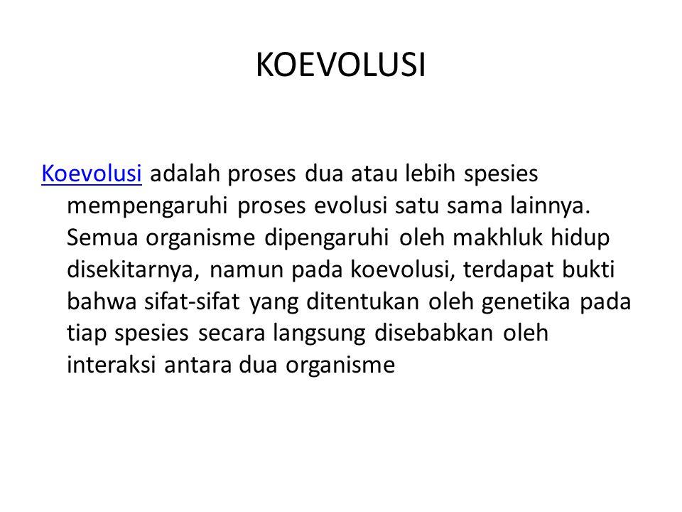 KOEVOLUSI KoevolusiKoevolusi adalah proses dua atau lebih spesies mempengaruhi proses evolusi satu sama lainnya.