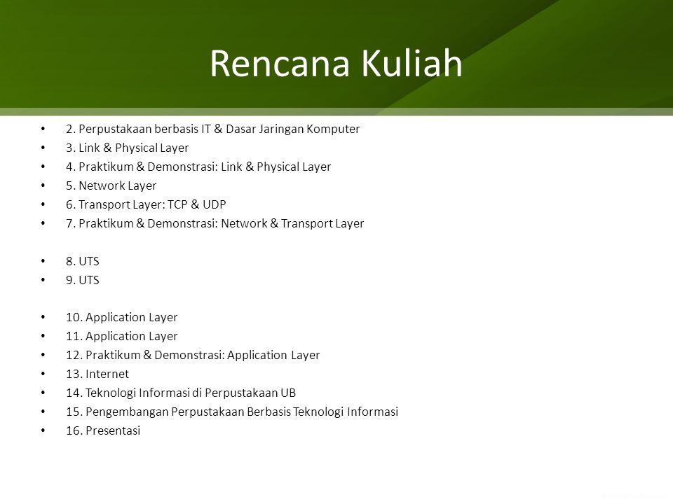 Rencana Kuliah 2. Perpustakaan berbasis IT & Dasar Jaringan Komputer 3. Link & Physical Layer 4. Praktikum & Demonstrasi: Link & Physical Layer 5. Net