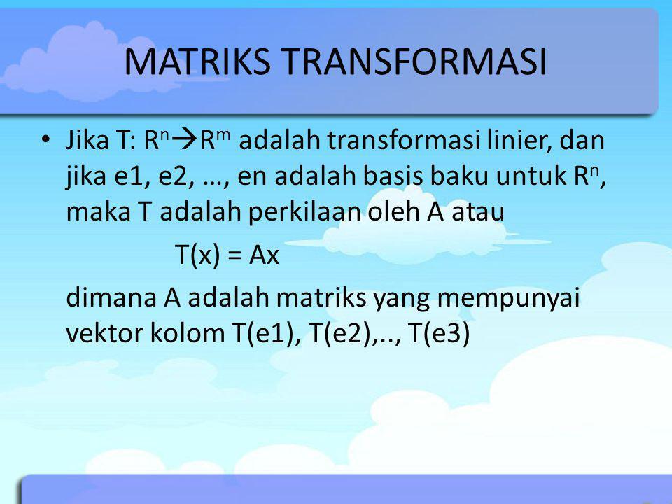 MATRIKS TRANSFORMASI Jika T: R n  R m adalah transformasi linier, dan jika e1, e2, …, en adalah basis baku untuk R n, maka T adalah perkilaan oleh A