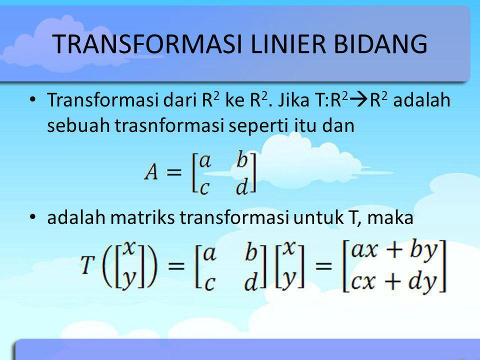 TRANSFORMASI LINIER BIDANG Transformasi dari R 2 ke R 2. Jika T:R 2  R 2 adalah sebuah trasnformasi seperti itu dan adalah matriks transformasi untuk