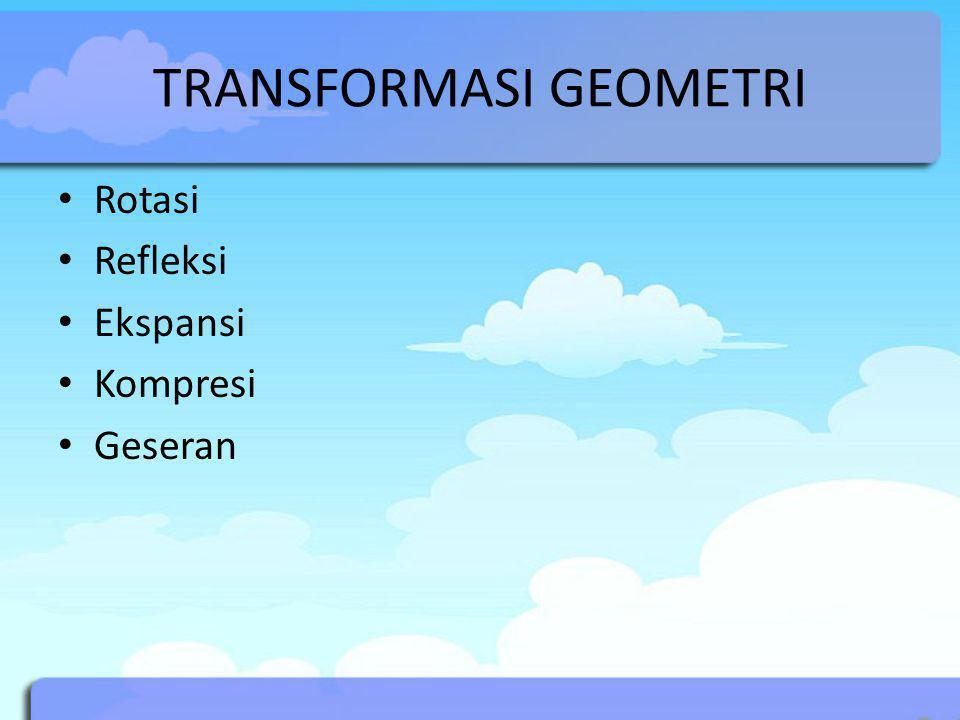 TRANSFORMASI GEOMETRI Rotasi Refleksi Ekspansi Kompresi Geseran