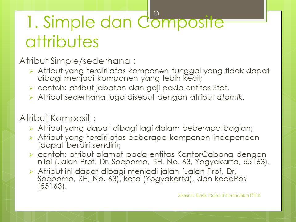 1. Simple dan Composite attributes Atribut Simple/sederhana :  Atribut yang terdiri atas komponen tunggal yang tidak dapat dibagi menjadi komponen ya